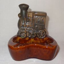 Vintage  Train Ashtray Brown Gray Ceramic Taiwan Gifts from Around the World