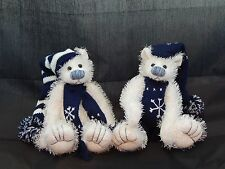 """Set of 2 Winter Holiday Plush Bears 7"""" White & Navy Blue by Terry's Village"""