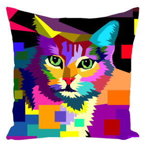 Throw Pillow Case Cushion cover Cat 656 WPAP multicolor art L.Dumas