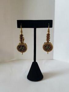 Vintage MMA Etruscan Revival Long Gold Tone Enamel Earrings