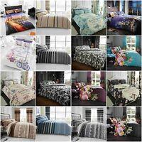 Multi Design Poly Cotton Printed Duvet Quilt Covers Reversible Bedding Sets