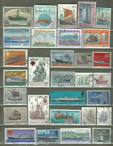 BOATS $ SHIPS 30 USED PICTORIAL DIFFERENT STAMPS LOOK (11)
