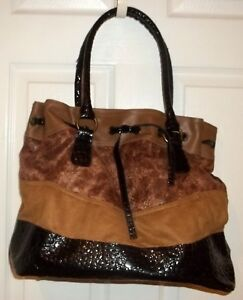 Womens FAUX Suede SHOULDER BAG~NEW~Handbag Pocketbook~Brown Black Patent Leather