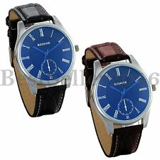 Couple Women Men Faux Leather Casual Watches Blue Dial Quartz Wrist Watch Gift