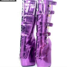 hot Womens Wedges Buckle Lock Go-Go Boots Knee-High Boots Club Fetish US 4.5-16