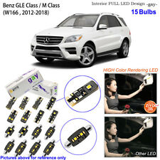 15 Bulbs Deluxe LED Interior Light Kit For W166 2011-2018 Benz GLE (ML) Class