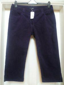Vtg BNWT H&M 16 18 Purple Cord Cropped Mid Calf Straight Leg Trousers W38 L23