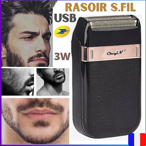 Rasoir Electrique Sans Fil Rechargeable USB Double Lames Hommes-Etanche-Voyage