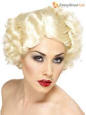 Ladies 1920s Hollywood Icon Wig Blonde Marilyn Monroe Fancy Dress 30s 1940s WW2