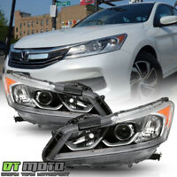 For 2016-2017 Honda Accord LX Sedan Projector Headlights Headlamps Left+Right