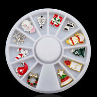 12 pcs 3D Christmas Alloy Jewelry Glitter Rhinestones Nail Art Stud Decorations