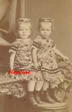 CDV: Cute LITTLE GIRLS, sisters in same PLAID FASHION; Germany, c. 1880