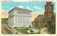DB Postcard CA H132 Unposted Hall of Justice Los Angeles County Court House Cars