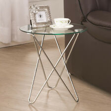 Accent Contemporary Petite Snack Side Table w/ Round Glass Top Chrome Frame Base