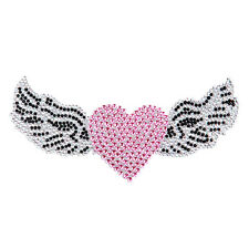 Angel Wing Pink Heart Crystal Rhinestones Bling Laptop Car Bumper Decal Sticker