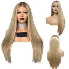 Women Heat Resistant Blonde Synthetic Long Cosplay Wig Fancy Straight Hair Wigs