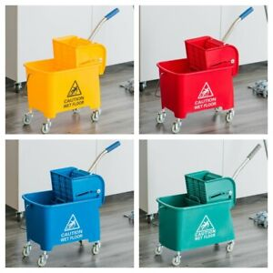 COLOUR CODED SQUEEZE MOP BUCKET & 2 MOP HEAD SET FLOOR HOME INDUSTRIAL CLEANING