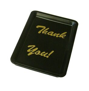 Tip Tray Black Thank You  Bill Presenter Tips Restaurant Hotel Bar Cash Change