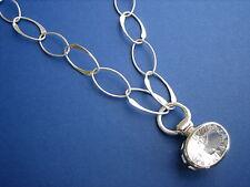 Silberkette Phantasiekette 83 cm mit Bergkristall Edelstein-Anhänger, 925 Silber