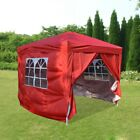 2.5x2.5m Pop Up Gazebo Garden Outdoor Marquee Awning Canopy Party Tent - Red