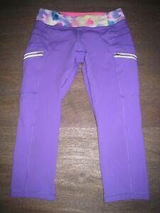 EUC IVIVVA by Lululemon Bright Purple Cargo Style Yoga Pants. Zippers. GIRLS 12