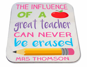 Personalised Printed Coaster school gift! influence of great teacher end term