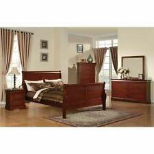 King Size Bed Frame Headboard Wood Finish Sleigh Style Bedroom Furniture