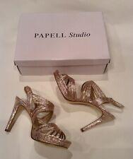 Womens Formal Strappy Platform Gold Sandal Papell Studio Dress Shoes Sz 6.5