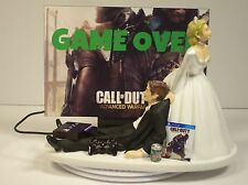 GAMER Funny Wedding Cake Topper Bride and Groom COD Adv War PS4 Game Over