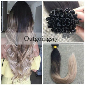 Ombre Pre Bonded Straight Fusion Nail U Tip Remy Peruvian Human Hair Extensions