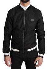DOLCE & GABBANA Jacket Black Polyester DG Logo Bomber Coat EU46/ US36/S RRP $880
