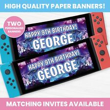 Personalised Fortnite Birthday Party Banners - Children Party Banner x2