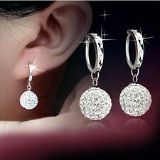 Vintage Fashion White Gold Plated Crystal Rhinestone Hoop Earrings Womens