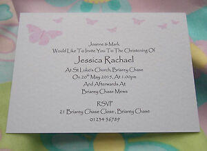 25 PERSONALISED CHRISTENING BAPTISM NAMING INVITATIONS BUTTERFLIES PINK / BLUE