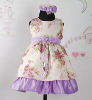 New Baby Girls Party Dress with Headband&Bloomers in Lilac,Burgundy 0-24 Months