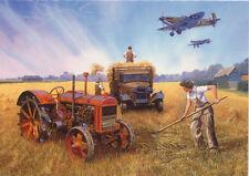 Fordson Tractor Supermarine Spitfire Nostalgic Land Army WWII Birthday Card