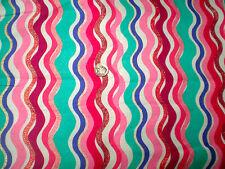 Glittery Pink, Blue, Aqua, Rose, & White Wavy Stripe Flannel Fabric