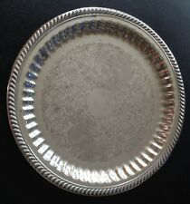 """Vintage Ornate Silverplate 13"""" Platter. English Silver Mfg Corp. Made In Usa."""