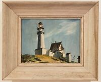 "Oil Painting on Board Lighthouse Scene Signed Framed Art  (14"" x 17"")"