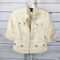 White House Black Market Womens Linen Jacket Size 8
