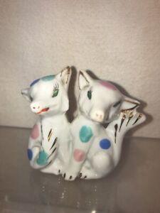 Vtg 1940-50's Japan Bisque Art Miniature  Couple Polka Foxy Fox Dog Figurine