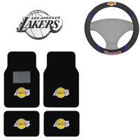 New NBA Los Angeles Lakers Car Truck Floor Mats Steering Wheel Cover & Emblem