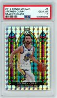 Stephen Curry Warrior 2019 Panini Mosaic Stained Glass Prizm Card #1 PSA 10 MINT