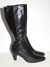 Women's CALVIN KLEIN Black Knee High Boots Reptile Textured Made in Spain Sz 8 M