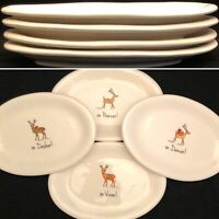 Rae Dunn 2017 Christmas Reindeer Oval Snack Plates DANCER DASHER PRANCER VIXEN