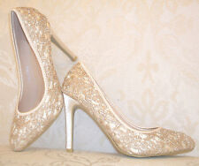 Tamaño 2 2.5 3 Beige Satin Diamante Champagne Desnuda Encaje Traje Ocasión Zapatos BNWB