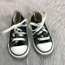 Converse Baby Girls Size 7 Black Heart Print Low Top Sneakers
