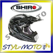 CASCO HELMET MOTO CROSS OFF-ROAD SHIRO FIBRA DI CARBONIO MX-912 CHASER NERO L