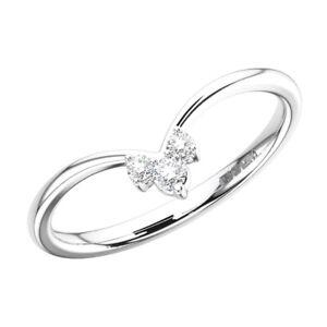 0.10Carat Claw Set Round Brilliant Cut Diamonds Wedding Ring in 18K White Gold