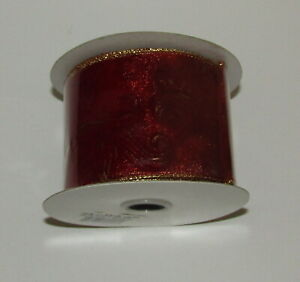 Burgundy Ribbon Gold Metallic Wire Edge New 2.5 Inch 10 Yards Expressions Spool